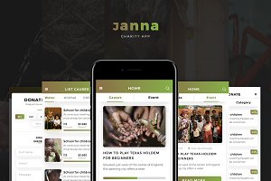 Janna Charity Mobile UI Kit