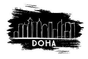 Doha Skyline Silhouette.
