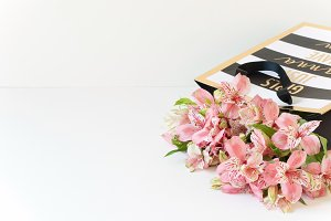 Styled Desktop with bag and flowers