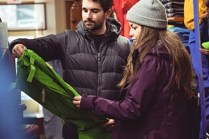 Couple shopping in a clothes shop
