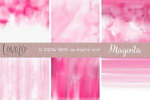 PinkMagenta Watercolor Digital Paper