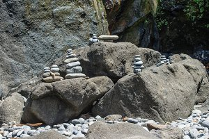 Stacks of rocks on the beach