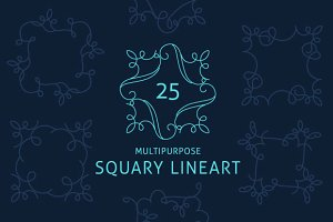 25 Multipurpose Squary Lineart