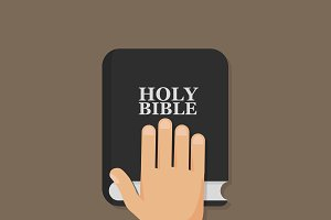 Hand on Bible. Flat icon