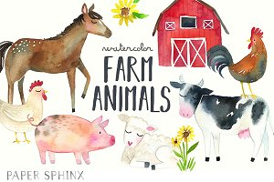 Watercolor Farm Animals Clipart Pack