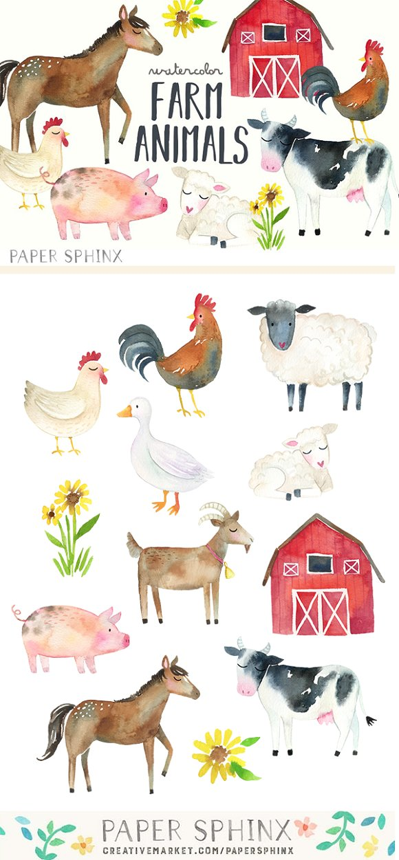 Watercolor Farm Animals Clipart Pack Illustrations Creative Market