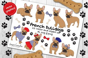 French bulldog vector clipart set