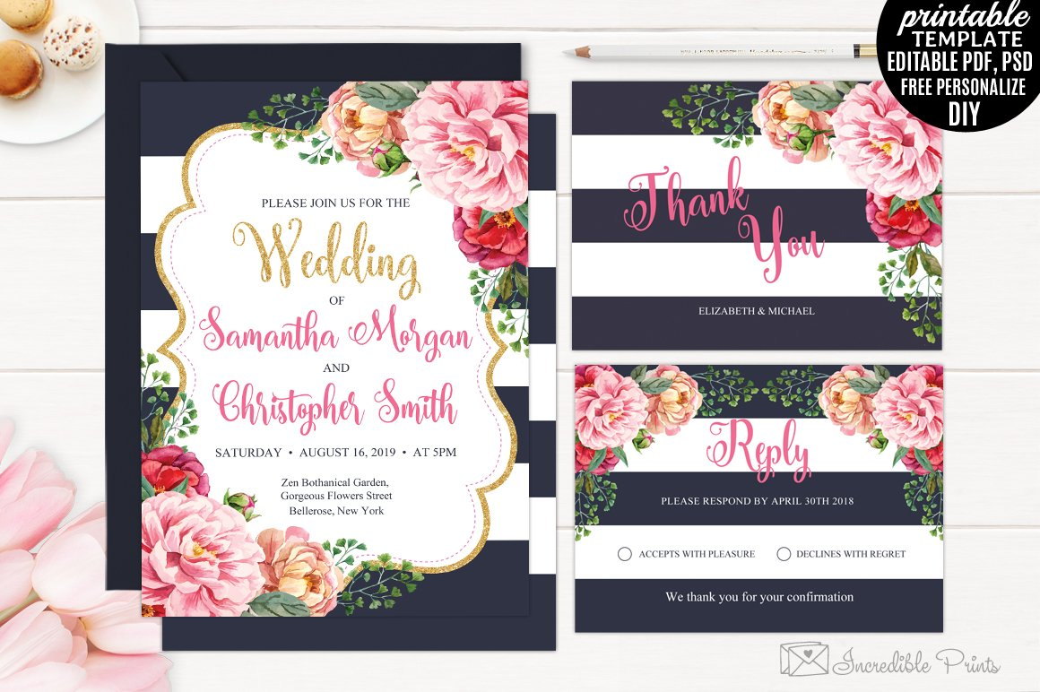Navy and Gold Floral Wedding Invite ~ Invitation Templates ...