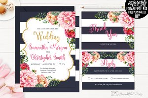 Navy and Gold Floral Wedding Invite