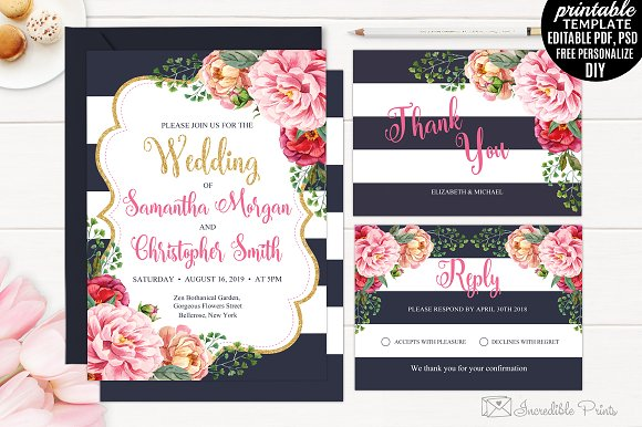 navy and gold floral wedding invite invitation templates