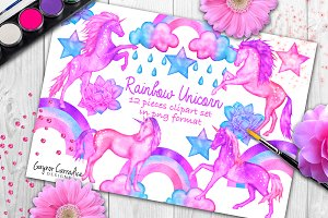 Watercolor Unicorns Clipart