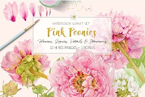 Pink Peonies-Clipart Set