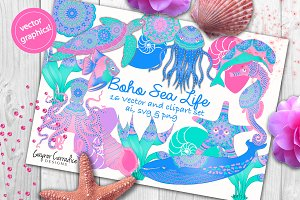 Boho Sea Creatures vector set