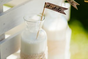 milk in glass bottle for breakfast