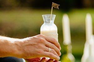 milk in glass bottle for breakfast