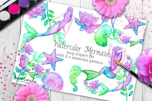 Rainbow mermaid clipart