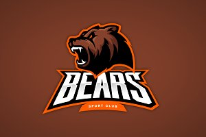 Bear mascot sport logo design