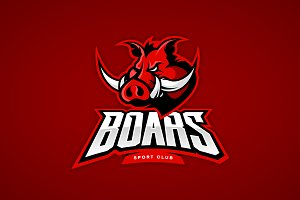Boar mascot sport logo design