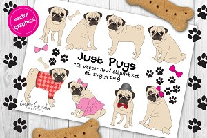 Just pugs vector clipart set