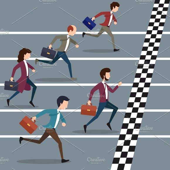 Business People Winning Marathon