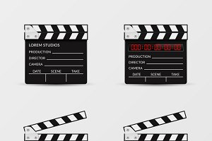Movie clapperboard vector set