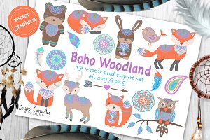 Boho woodland animals