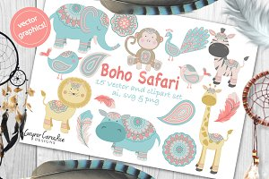 Boho Safari vector clipart set