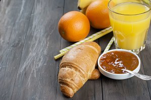 Croissant, jam and juice