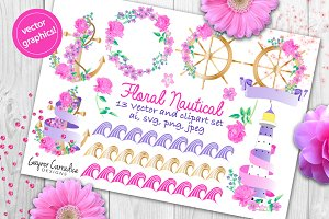 Floral nautical vector & clipart set