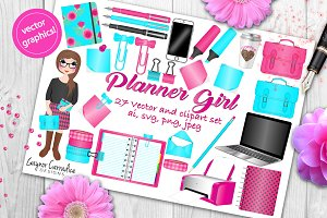 Planner Girl clipart & vector set