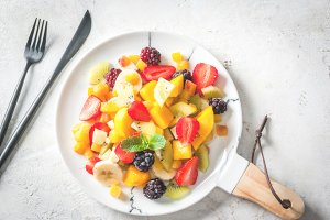 Salad of fresh organic fruits
