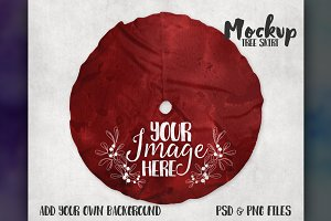 Christmas tree skirt mockup