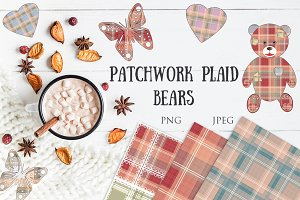 SALE! PATCHWORK PLAID BEARS set