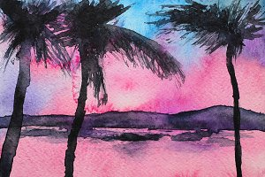 Tropical sunset, watercolor