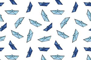 Watercolor paper boats pattern