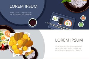 Asia food banners vector set