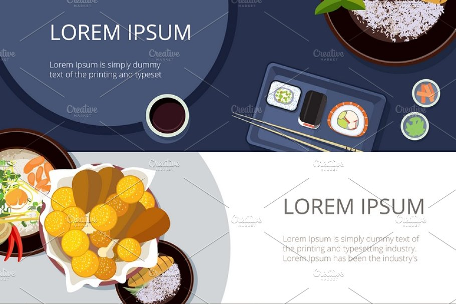 Asia food banners vector set ~ Illustrations ~ Creative Market