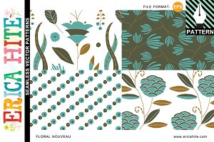 Floral Nouveau Patterns (EPS Format)