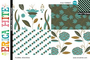 Floral Nouveau Patterns (PNG Format)
