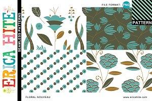Floral Nouveau Patterns (PNG Format)
