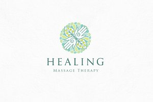 Healing massage logo template