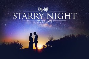 50 Starry Night Overlays