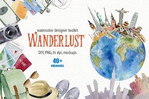 Wanderlust watercolor design toolkit