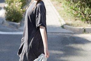 Girl in gray dress