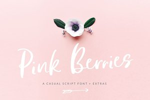 Pink Berries Script font + Extras