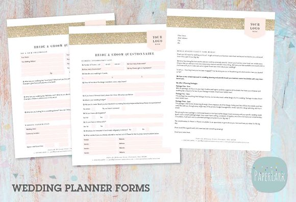 ng029 wedding planner forms stationery templates creative market