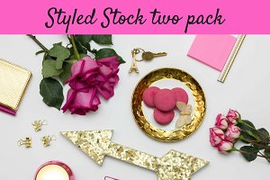 Styled Stock Fuschia & Gold two pack