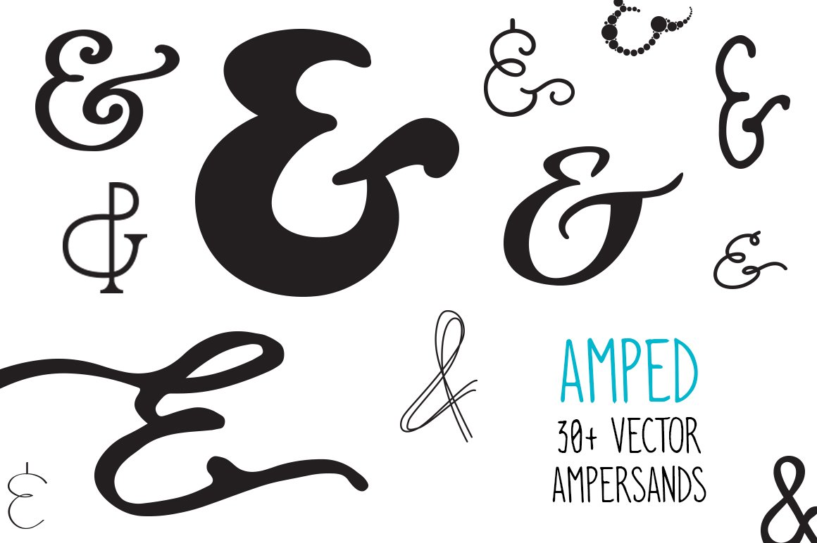 Amped Ampersands Bundle 30 S Illustrations Creative Market