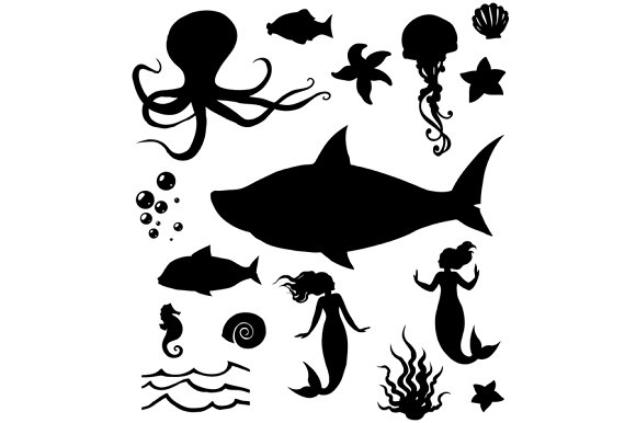 Marine Life Silhouettes