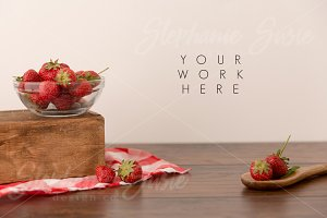 Strawberries & Wooden Spoon Styled